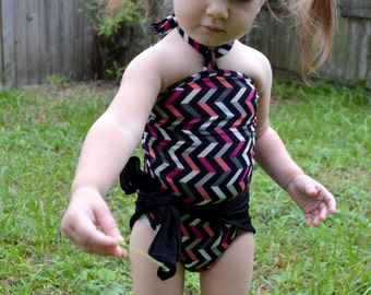 Baby Bathing Suit Multi Color Chevron Print One Wrap w/ Classic Black Wrap Around Swimsuit Girls Tie On Swimwear Infant Newborn Swim Suit