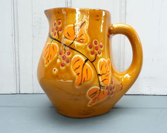 Vintage French pottery, wine pitcher, water jug. 60s ceramics. Bresse earthenware floral pottery