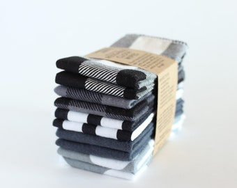 "Reusable CLOTH WIPES set of 10, 7""x8"" 100% cotton MONOCHROME"