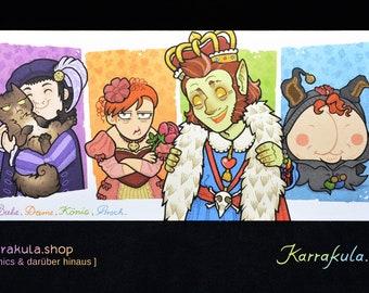 """Postcard """"Jack, Queen, King, ass"""""""