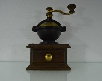 Old Coffee mill in brown and gold