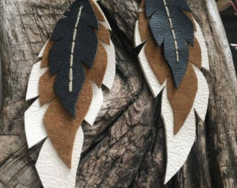 Layered Leather Feather Earrings- Owl feathers