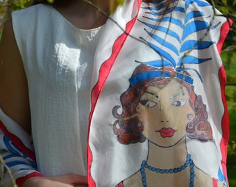 """Red white blue scarf, all american, flapper scarf, american colors, """"The American Flapper."""""""