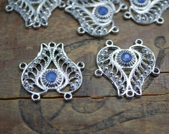 Silver Filigree Pendant Drop Component Focal Pendant Component with Light Sapphire Blue Rhinestone (1) JA18