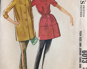 Vintage 1960's Teen Tunic and Pants Sewing Pattern Simplicity 6013  Bust  30  Complete UNCUT