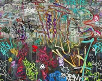 Graffiti from P&B Textiles - Full or Half Yard of Bright Modern Graffiti Design