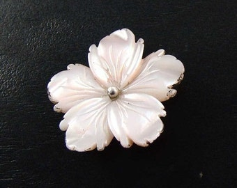 SPRING SALE 50% Mother of Pearl Carved Flower, Sterling Silver,  Wire Wrap, Set, 30 mm, E1261