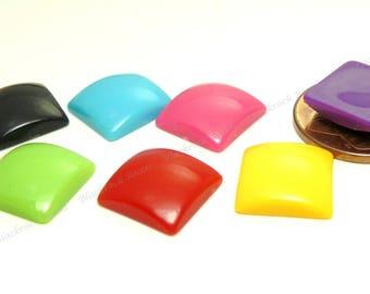 Square Resin Cabochons - 15pcs - Assorted Colors, Flatback Cabs, Scrapbook Embellishments - 12mm - BP40
