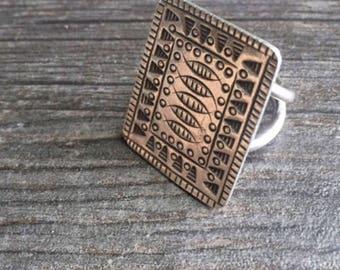 Square silver ring, big square silver ring, big detailed ring, big thin silver ring, big silver ring, boho silver ring