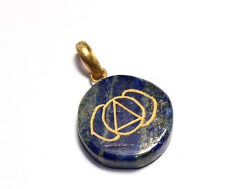 Lapiz Lazuli Third Eye Chakra Engraved Disk Pendant with Gold Plated Bail. Size 49x32mm Healing Crystals Healing Items, Reiki Healing Tool