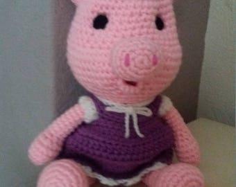 crochet pig, amigurumi pig, toy pig, stuffed pigl, soft pig