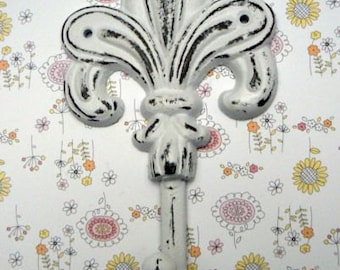 Fleur de lis Cast Iron White Hook French FDL Wall Decor Paris Shabby Elegance Leash Coat Towel Kitchen Jewelry Key Keys Hook