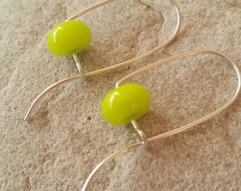 Argentium Sterling Silver Earrings - Glossy Lime Lampwork Glass Beads