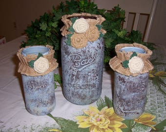 Set of 3 Distressed Painted Mason Jars- 2 Quart and 1 Quart Size Beige/Brown/Blue Colored