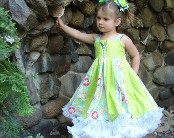 custom boutique twirl dress made with disney tinker bell patch 2-6