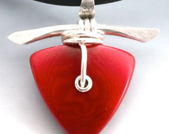 Red Tagua Nut and Hand Forged Sterling Silver Necklace