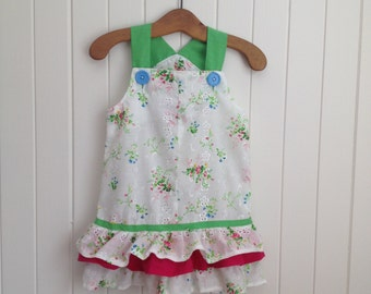Size 1 Toddlers  Summer dress with a splash of hot pink