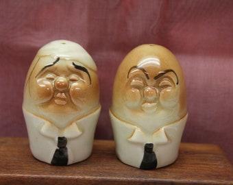 Vintage Egg Head Salt and Pepper Shakers, 1960s