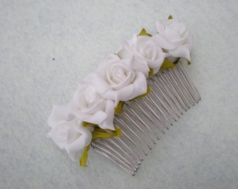 White Rose Wedding Hair Comb - Bridal Hair Accessory, Bridesmaid Hair Accessory, Accessories, Weddings,