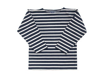 Saint James french 80s vintage breton navy coton striped sweater 8 y