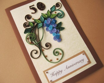 Happy birthday card handmade quilling card quilled 50th birthday card for husband dad handmade paper quilling card handmade greeting card bookmarktalkfo Choice Image