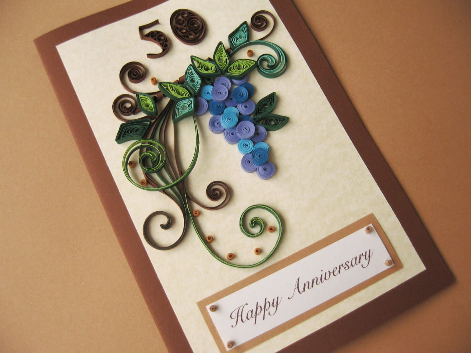 50th birthday card for husband dad handmade paper quilling zoom kristyandbryce Choice Image