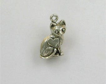 Sterling Silver Cat I Love Cats Charm