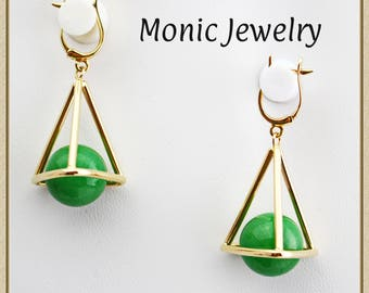 Solid Gold 14K GREEN AVENTURINE Unique  Pyramid Egypt Evil Eye Protection Earrings