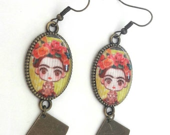 Long earrings Frida Kahlo doll / Frida doll paper aunder cabochon 18 x 25 mm bronze leaf breloque / frida patterns and fuschia pink flowers