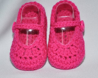 Mary Jane Booties for Baby in Bright Pink size New Born,  0 to 6 months and 6 to 12 months