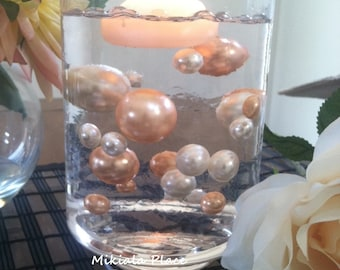 Elegant Floating Jumbo Pearls Ivory/Light Coral Vase Fillers/Wedding Centerpiece, Table Confetti, Scatters