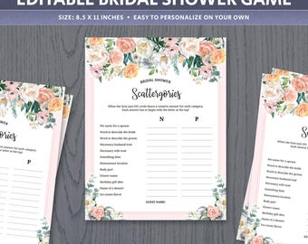 Scattergories game template, unique bridal shower games for large groups, ice breaker categories activities, wedding printable, digital PDF