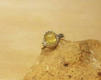 Green Tourmaline ring. 925 sterling silver. October birthstone ring. Crystal Reiki jewelry. Adjustable ring. 10x8mm stone