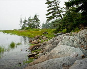 Misty Morning on the Shore by the narrows crossing at Mount Desert Island in Maine near Acadia Park No.123 - a Fine Art Seascape Photograph