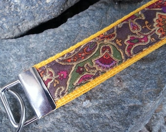 Paisley Quilted Keychain Wristlet