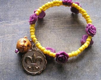 Yellow & Purple Bracelet LSU Tigers FDL roses Wrap around Bracelet Mike glass plastic memory wire 2 loops cuff beaded boho Louisiana