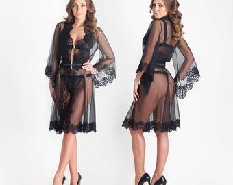 Milady 11046 Lace Kimono, Sheer Nightwear, Erotic Nightwear, Erotic Lingerie, Sheer Lace Lingerie, Black Sleepwear | by VIPA