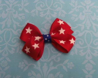 Fourth of July Hair Bow, Girls Hair Bow, Small Hair Bows, Hairbows, Patriotic Hair Bows