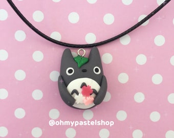 Totoro necklace - cherry blossom pink   My neighbor Totoro, Studio Ghibli, Cute charm, kawaii, Polymer Clay jewelry