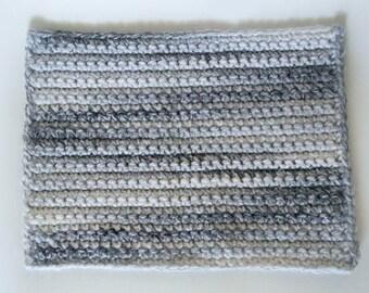 Crochet Table Mat/Marble/White/Gray