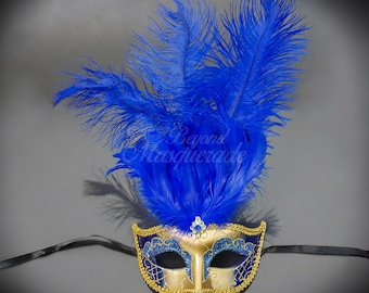 Masquerade Mask, Feather Masquerade Mask, Feather Masks, Mardi Gras Mask, Mardi Gras Masks, Masquerade Ball, Gold & Royal Blue Feather Mask
