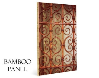 Rusted Gate Image-Bamboo Wall Panel-Image on Wood-Rusty Fence Photography-Fine Art Photography-Eco Friendly Artwork-Copper Wall Decor