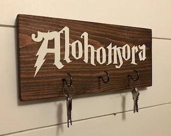 Alohomora Key Holder / Harry Potter Key Holder / Harry Potter Sign / Harry Potter Wall Art / Hogwarts / Harry Potter Key Rack / Key Hooks