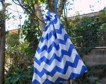 Small drawstring bag, blue & white chevrons, small cotton gift bag, toy bag
