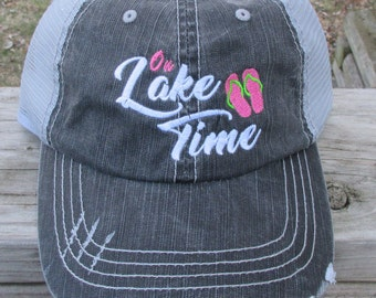 On Lake Time with Flip Flops embroidered hat