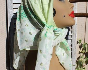 Vintage. Square/green/yellow/floral/spring/silky scarf. Beautiful scarf. 1960s