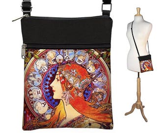 Small Crossbody Bag, Cross Body Purse, Shoulder Bags for Women Boho Fabric Handbags, Passport Wallet, Alphonse Mucha Zodiac, Art Nouveau RTS