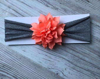 Baby headband - coral and grey headband - one size fits all