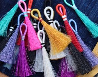 "Mane and Magic Horse Hair Tassels, Fall Pantone Colors, Handmade Western, Boho, Jewelry Making Supply Pendant, Exclusive Colors, 4"" 1 Tassel"