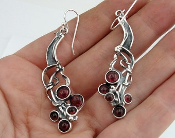 925 Silver Garnet Earrings, Hadar NEW Israel Long Sterling  Silver Garnet Earrings, Long Silver Earrings, Garnet Earrings,  (H 2103)